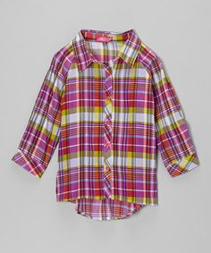 Look what I found on #zulily! Fuchsia & Lime Plaid Button-Up - Toddler & Girls by Chillipop #zulilyfinds