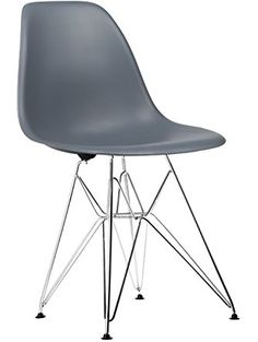 Poly and Bark Eames Style Molded Plastic DSR Eiffel Chrome Wire Leg Side Chair, Grey, Set of 2 ❤ Edgemod