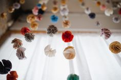 Melinda + Chris: A Pretty Indie Wedding - The Sweetest Occasion - garland - Fabric Pom Poms, Hanging Fabric, Pom Pom Garland, Fabric Flowers, Paper Flowers, Felt Garland, Flower Garlands, Flower Decorations, Wedding Decorations