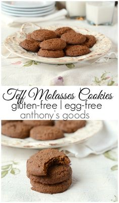 Soft and chewy teff flour molasses cookies that are gluten and egg-free! Teff Recipes, Baking Recipes, Millet Recipes, Flour Recipes, Healthy Dessert Recipes, Healthy Desserts, Delicious Desserts, Gluten Free Deserts, Gluten Free Cookies