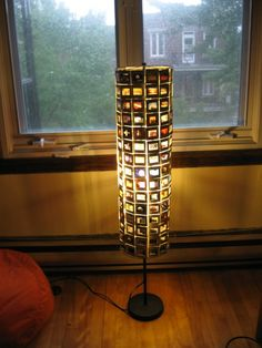 lamp from old slides! great way to recycle AND have your memories.
