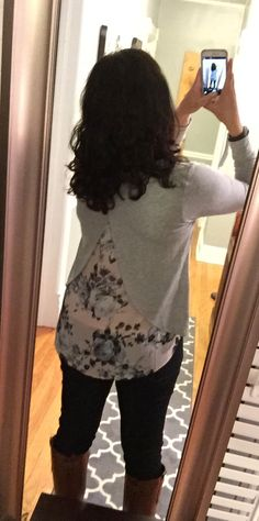 Stitch fix: me wearing Loveappella Mixed Media. Thought this would be a return until I tried it on. Love the fit and quality. Not crazy about florals, but like this one.