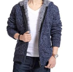 Men winter plus size sweaters thick velvet cotton hooded tops men winter padded knitted casual sweater cardigan coat Laipelar Plus Size Pullover, Plus Size Cardigans, Sweater Outfits, Sweater Cardigan, Men Sweater, Woolen Clothes, Herren Winter, Casual Sweaters, Knitwear