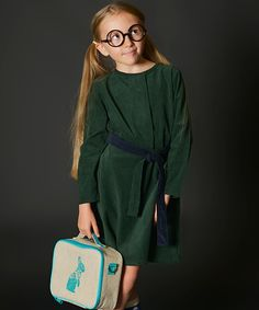This cozy cotton dress elevates her special occasion wardrobe with classic style and the deep hue makes it a breeze to pair with her favorite accessories.