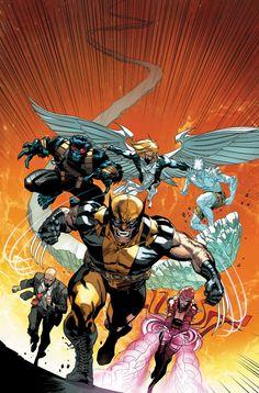 Una de las formaciones de los X-Men durante AvX Angel - Beast - Iceman - Professor X - Rachael Grey - Wolverine.