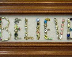 Framed Jewelry Art Sign 'Peace' | Etsy Vintage Jewelry Crafts, Jewelry Art, Unique Jewelry, I Am Store, Button Art, Vintage Pins, Art Sign, Bling, Frame
