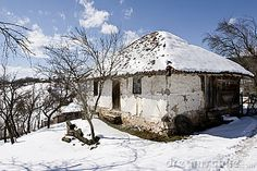 farm houses winter scenes | Traditional Serbian Farm House In Winter Royalty Free Stock Photo ...