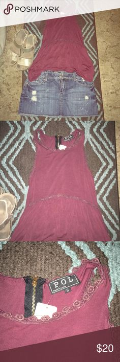 New with tags POL Racerback Boho Chic Tank Top Pol tank top. Maroon color. NWT!!! Size small. First two pictures is the exact top modeled. The tan colored one shows the beautiful back detail on this tank. The last pictures show my actual item. Tags still attached! POL Tops Tank Tops