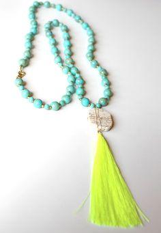 Boho Glam Tassel Necklace - Neon Yellow