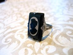 Antique Victorian Sterling Silhouette CAMEO Ring