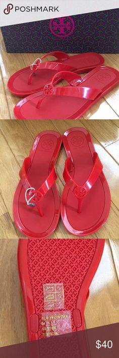 Brand New Tory Burch Jelly Logo Thong Masai Red 5 Brand new, and still in the box. Size 5 red jelly thong sandals by Tory Burch. These are style number 12158567. No longer available in stores. Completely authentic Tory Burch Shoes Sandals