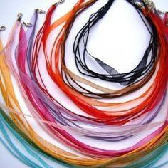 CHOOSE YOUR COLORS chiffon ribbon cord NECKLACE --16 inch Ribbon Cord