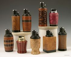 Assorted cigar lighters and cigarette lighters. segmented woodturing