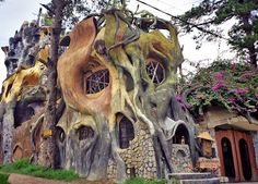 An unusual hotel located in Dalat, Vietnam. The Hang Nga Tree House Hotel, or Spider Web Chalet, is one of the most unique hotels in the area, if not the world.