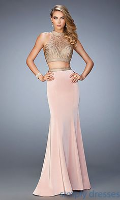 Floor Length Sleeveless La Femme Two Piece Formal Gown