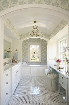 Like the arches, wouldn't need vanity table, like tile work just would like to see it in bolder colors