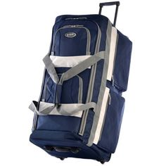 Rolling Duffel Bag 29-inch Wheeled Upright Carryon Luggage Sports Bag Navy Blue #Olympia