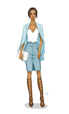 Fashion Illustration by Lydia Snowden. Muted blue monochromatic outfit with gladiator sandals.