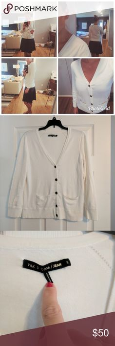 Rag & Bone Cardigan Reposh as the sleeves are too short for me. Perfect cream cardigan. Great year-round weight. In excellent condition. Very minor pilling-barely noticeable. Tiny spot on right sleeve that looks like it would come out if dry cleaned (see 5th pic). Such a perfect sweater! rag & bone Sweaters