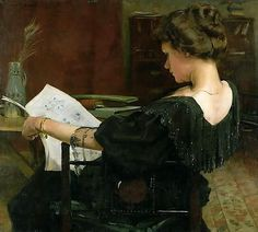 Woman reading by Alexander Mann