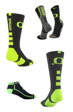 Oregon Ducks Crew socks and footies!  Perfect gift for a Ducks fan!