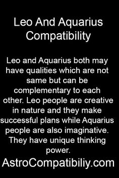 Leo and Aquarius Leo and Aquarius both show characteristics which are just conflicting to each other. But the same qualities can also attract them to each . Scorpio And Aquarius Compatibility, Leo Horoscope, Zodiac Signs Aquarius, Leo Zodiac, Zodiac Quotes, Zodiac Facts, Astrology Zodiac, Horoscopes, Gemini
