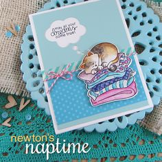 Dreaming Kitty Card by Jennifer Jackson | Newton's Naptime Stamp set by Newton's Nook designs