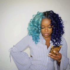 Blue Wigs Lace Frontal Hair Naturally Curly Best Shampoo For Fine Hair Steam Flat Iron Half Colored Hair, Half And Half Hair, Colored Wigs, Dope Hairstyles, Weave Hairstyles, Hair Color For Black Hair, Purple Hair, Blue Hair Black Girl, Shampoo For Fine Hair