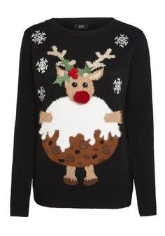 Clothing at Tesco | F&F Rudolph Flashing Lights Christmas Jumper > knitwear > Women's Knitwear > Women