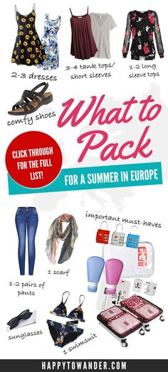 Wondering what to pack for Europe, or searching for the perfect Europe packing list? This post has you covered! It features a thorough guide on what to pack for Europe, no matter for 1 week, 2 weeks, or a month. Be sure to save this for your future travel Summer Packing Lists, Packing List For Vacation, Packing Tips, Travel Packing, Travel Tips, Travel Ideas, Travel Icon, Travel Essentials, Backpacking Europe