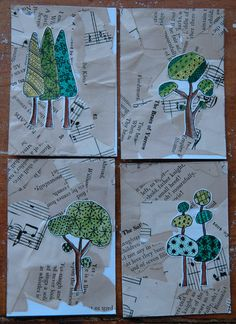 Trees - could use zentangles and integrate with music. Would be cute to do Christmas trees and Christmas music! Collages, Collage Art, Programme D'art, Journal D'art, Newspaper Art, Ecole Art, Art Curriculum, Artist Trading Cards, Art Club