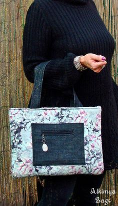 Borsa+in+tessuto+goffrato+e+jeans+di+Alkimya+Bags&Jewelry+su+DaWanda.com
