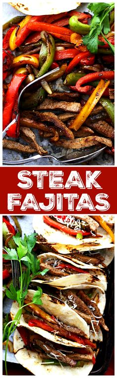 Steak Fajitas Perfectly seasoned, classic steak fajitas with onions and peppers, wrapped in warm flour tortillas. (What can I say other than deliciousness wrapped in a tortilla!)