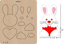 New rabbit Wooden die Scrapbooking Cutting Dies Felt Crafts, Easter Crafts, Diy And Crafts, Crafts For Kids, Felt Animal Patterns, Stuffed Animal Patterns, Card In A Box, Bow Template, Templates