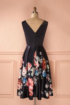 Maretta - Navy blue a-line floral print dress