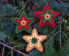 Items similar to Christmas Tree Ornaments, Star Christmas Ornaments, Wool Felt Star Ornaments, Felt Christmas Ornaments, Folk Art Christmas Ornaments on Etsy Bird Christmas Ornaments, Felt Christmas Decorations, Felt Ornaments, Beaded Ornaments, Embroidered Christmas Ornaments, Glitter Ornaments, Christmas Leaves, Christmas Coasters, Handmade Ornaments