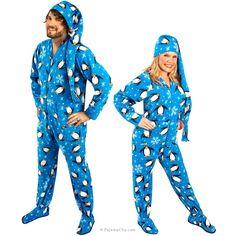 Penguin Footed Pajamas with Drop Seat and Long Night Cap Onesie Pajamas 5b0817076
