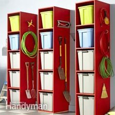 Garage Storage Tower: Here's an easy-to-build tower for storing stuff in your garage, basement or mudroom—it's perfect for organizing those big, plastic storage bins you keep throwing everything into. http://www.familyhandyman.com/garage/storage/garage-storage-tower/view-all