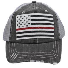 Sun Nowa Thin Red Line American Flag Firefighter Wife Mom Women Glittering  Distressed Trucker s Cap Hat 0df3f0c27db0