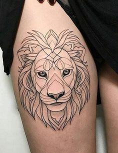 Lion Tattoos for Women lion tattoo Time Tattoos, Body Art Tattoos, Small Tattoos, Tattoo Designs, Lion Tattoo Design, Dr Tattoo, Tattoo Fonts, Simple Lion Tattoo, Leo Lion Tattoos
