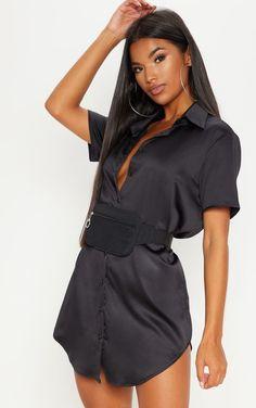 983c19bdc9 Black Satin Short Sleeve Shirt Dress Satin Shorts