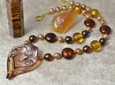 Autumn Shades Murano Glass & Pearl Necklace £76.60