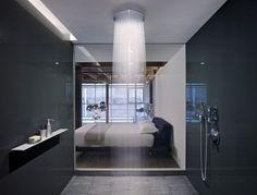 large modern shower with rain shower head