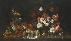 Attributed to Bartolomeo Bimbi Still Life 2, Be Still, Old Master, Impressionist, Oil On Canvas, Modern Art, Cherries, Prints, Flowers