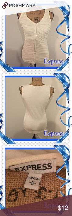 Express cream blouse Express blouse cream size medium. 100% nylon very clean never been worn! Express Tops Blouses