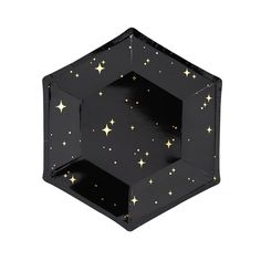 Small Black Hexagonal Plates with Gold Stars, Halloween Party, New Year's Eve or Christmas Party, Milestone Birthday or Anniversary Party Birthday Plate, Gold Birthday, Galaxy Party, James Bond Party, Helium Filled Balloons, Party Plates, Dessert Plates, Christmas Party Decorations, Gold Party
