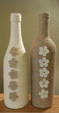 Wine Glass Candle Holder Twine Wrapped Wine by CrystalsMarket Glass Bottle Crafts, Wine Bottle Art, Painted Wine Bottles, Diy Bottle, Wine Bottles Decor, Twine Wine Bottles, Empty Wine Bottles, Glass Bottles, Yarn Bottles