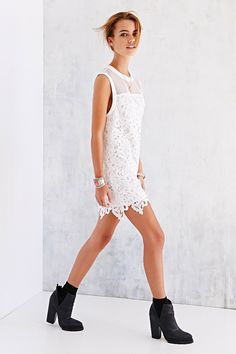 Clothing, accessories and apartment items for men and women. Smock Dress, Buy Dress, Lace Dress, Dress Up, White Dress, Cute Dresses, Vintage Dresses, Short Dresses, Flower Girl Dresses