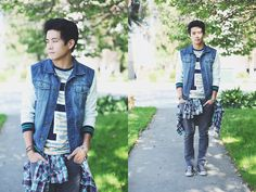 Prpgnda P Tiger Striped Shirt, Prpgnda Denim Varsity Jacket, Leather Bracelet, Pacsun Grey Pants, Converse Chucks