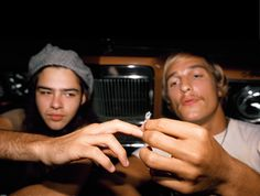 """""""Dazed And Confused"""" / Rory Cochrane and Matthew McConaughey puff-puff pass Gene Simmons Tongue, Joey Lauren Adams, Jason London, Rory Cochrane, Cole Hauser, Used Guitars, Puff And Pass, Matthew Mcconaughey, About Time Movie"""